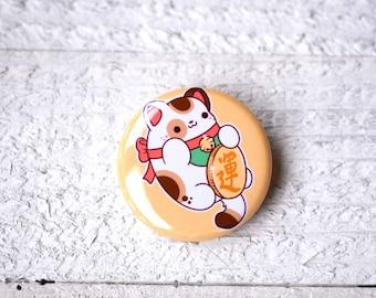 Kawaii Maneki Neko Lucky Cat Nugget Pinback Button or Magnet