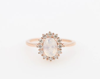 Halo Oval Moonstone Engagement Ring, Rose Gold Ring, Diamond Ring, Halo Ring, Halo Engagement