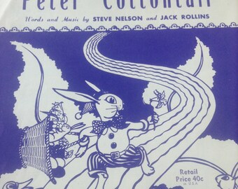Original Peter Cottontail sheet music for guitar or ukulele, Hill and Range Songs, words and music by Steve Nelson and Jack Rollin, Easter