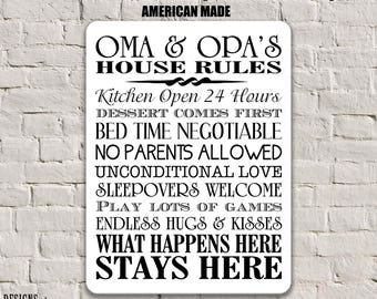 Oma and Opa Gifts, Oma and Opa Rules, Grandparents Sign, Grandparents Gift, Oma and Opa Gift Personalized House Rules Sign Gift for OMA SPH5