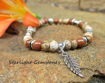 Nature Girl - Bohemian/Boho/Nature Inspired Picture Jasper with Goldstone Gemstone Stretch Bracelet with silver spacers & Leaf Charm