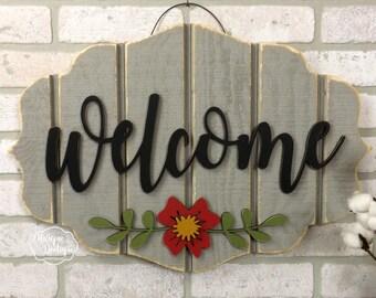 Summer Door Sign | Welcome Door Hanger | Gray Red painted flower | wood shiplap sign Rustic Farmhouse Fixer upper garden Decor Door Hanging