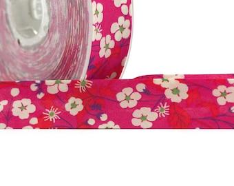 1 metre of cord - Bias Liberty of London Mitsi pattern flowers - bias Replie width 2 cm - tone Red