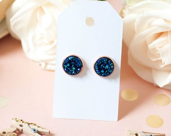 Druzy Earrings | Stud Earrings | Blue w/ Rose Gold Faux Druzy Studs | Gifts for Her | Bridesmaid Gift | Rose Gold Earrings |