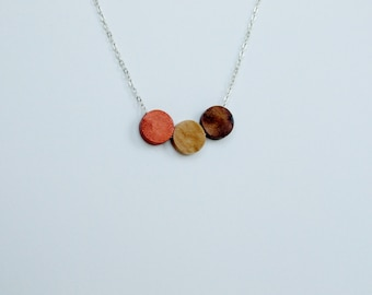 Walnut and Birch Wood Geometric Silver Necklace copper