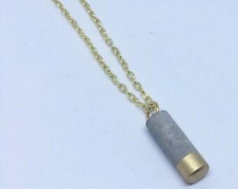 Concrete Mini Column Necklace - Gold Dipped // Concrete Necklace // Brutalist Necklace