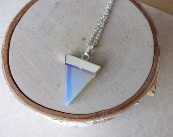 Opalite Gemstone Point with a Silver Chain Genuine Opalite Triangle Necklace Unique Opalite Triangle Silver Chain Layering Necklace T0004