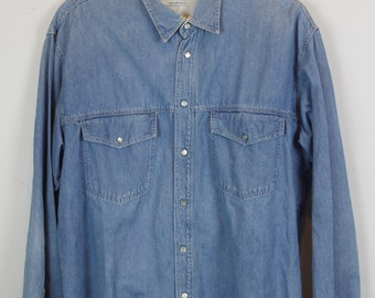Vintage jeans shirt 90s - United Colors of Benetton - denim - long sleeves - oversized