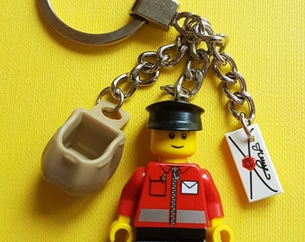 Keychain Postman Minifigure with Sack and Letter, Made From LEGO Parts