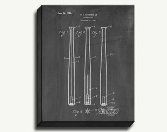 Canvas Patent Print - Baseball Bat Gallery Wrapped Canvas Print