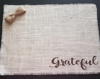 Farmhouse Style Burlap Placemats, Modern Farmhouse Table Decor, Rustic Engagement Gift, Rustic Burlap Place Mats, Grateful Placemat Set of 6