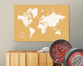 Push Pin Map (Golden) Push Pin World Map Pin Board World Travel Map on Canvas Push Pin Travel Map Personalized Wedding/Anniversary Gift