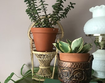 Wicker Plant Stands/ Vintage Wicker Chair