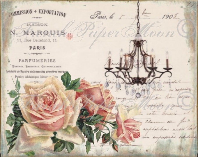 Vintage Digital Shabby Chic Chandelier, Typography,  Roses, French Digital Download