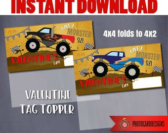 Monster TRUCK Treat Bag Topper,  Monster Truck Valentine, Truck Printable, Truck Printable, Party Favor, Tag, Treat Bag INSTANT DOWNLOAD