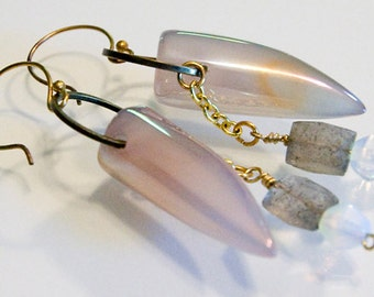 Sharks Tooth Agate, Labradorite and Moonstone Earrings Handmade