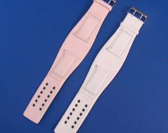 NOS White And Pink Leather Band