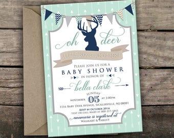 10% OFF NEW Printed or Digital Deer Baby Shower Invitation Oh Deer Baby Shower Buck Baby Shower Mint Navy Deer Invite Tribal Baby Shower