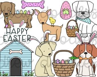 Easter Dogs Digital Clip Art Set- Instant Download