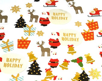 Stickers Christmas stickers / pack of 45 pieces of Christmas stickers /pack snowman snow Santa Claus decoration emaballage present