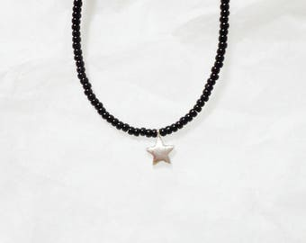 star charm black seed beads bracelet. anklet - layering - anklet - silver color - simple - dainty - minimalist jewelry - delicate