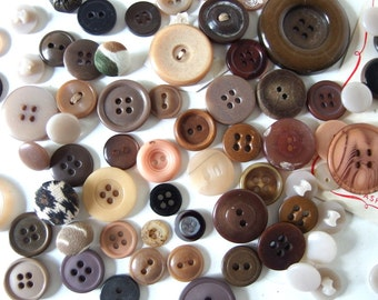93 Assorted Brown and Tan Buttons Collection