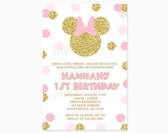 Pink and Gold Minnie Mouse Birthday Party Invitation, Minnie Mouse 1st Birthday Invitation, Personalized Printable or Printed