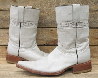 Vintage Mens Rudell Sz 6EE White Leather Cowboy Boots Size 6EE