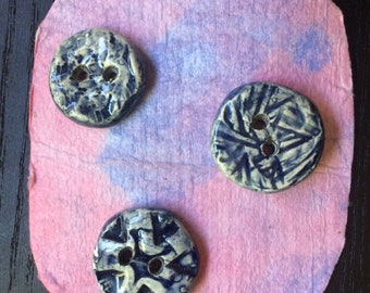 Pottery Buttons. 2 Hole Buttons. Handcrafted Pottery Buttons. Gift for Knitter. Gift for Crafter. Indigo Buttons. Blue Buttons. A