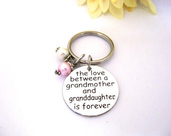 Grandmother and Granddaughter Keychain, 2 crystals or pearls, No Name Tag, Gift for Granddaughter, Gift for Grandmother