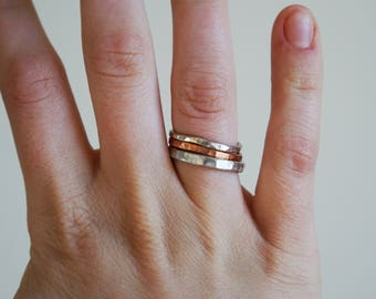 Textured Rings || Stacking Rings || Simple || Copper || Silver || Natural Metal