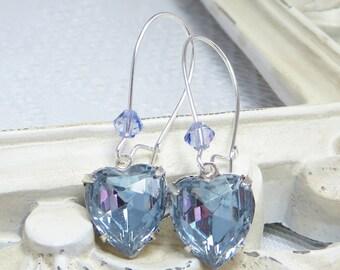 Alexandrite Heart Earrings Lavender Ear Dangles Victorian Jewelry Gift June Birthstone