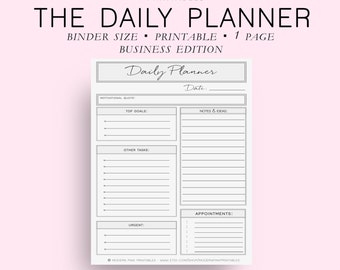 Binder Size Business Daily Planner, Daily Planner Printable, Daily Planner Pages, Daily Planner Inserts, Everyday Planner, Diy Planner