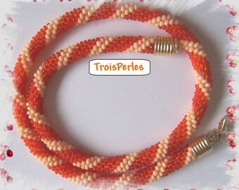 50 - Beaded Crochet Necklace - Kette - Perlenkette - Häkelkette