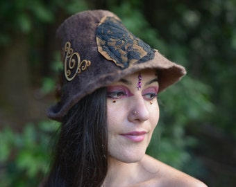 RESERVED for C - Not For Sale - Felt Pixie Lace Leaf Leather Hat With Swirls Spirals Feathers and Brass Ornament OOAK