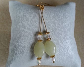 gold plated earrings and pale yellow Moon stone imitation glass bead