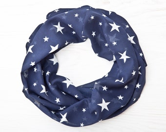 Blue Summer Scarf with Stars Womens Scarves Infinity Scarf Valentine's Day Gift, Girlfriend Gift, Bridesmaid Gift Idea, Beautiful Scarf