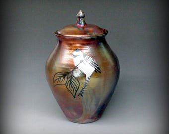 Raku Urn with Chickadee in Metallic Iridescent Colors