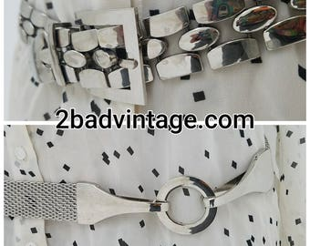Belts 80s Metal Waist belts Vintage Kool Metal Link and Mesh Belts Two styles to choose from Buy Two and Save Five Bucks He he  he