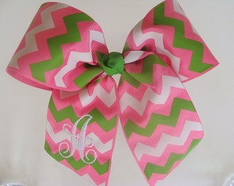 Monogram Chevron, Hair Bows, Cheer Bow, Personalized Letter, Custom Initial, Boutique Embroidered, Chevron Zig Zag, Softball, Lime Green Bow