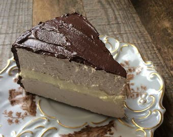 Fake Slice Boston Cream Pie Faux Food Photo Prop Staging