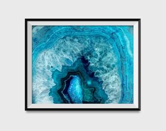 Blue Agate Slice Bathroom Print - Blue Crystal Watercolor Art Print - Agate Slice Bathroom Art - Bathroom Decor - Blue Room Decor