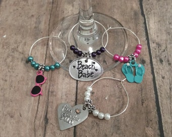 Wine Glass Markers/Beach Babe (Set of 4)