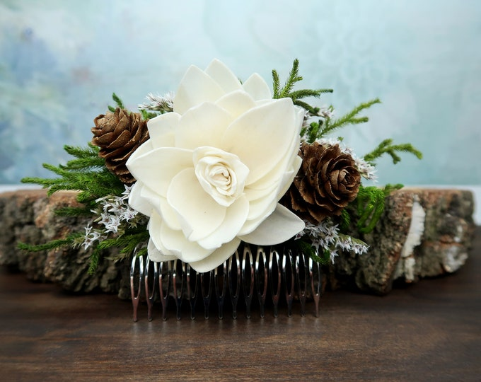 Green brown  HAIR COMB cones ivory sola flower rustic woodland wedding burlap hair piece, bridal accessory, dried flowers natural greenery