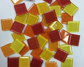 Red, Orange, Yellow  23*23 mm Glass Mosaic Tiles/Mosaic Pieces/Mosaic Craft & Mosaic Art/Decoration/Crystal mosaic