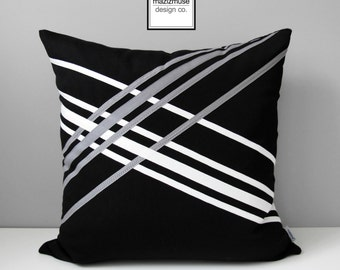 Decorative Black & White Outdoor Pillow Cover, Modern Pillow Cover, Grey Pillow Cover, Geometric Sunbrella Cushion Cover Mazizmuse