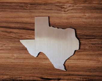 TEXAS - Brushed Aluminum - State Shape - Lightweight - Easy to Hang - Wall Art- FREE Shipping - Texas Pride - Metal Sign - Gift - Home Decor