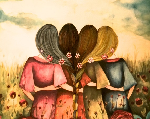 The four sisters ,best friends ,mother daughters brisdemaid present  art print