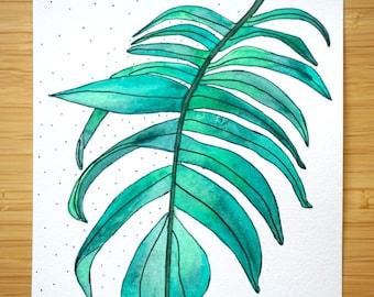 Greenery, botanical houseplant painting, original watercolor art