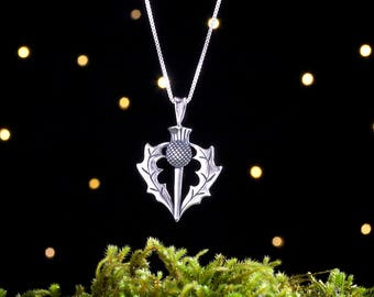 Sterling Silver Scottish Thistle - (Pendant or Necklace)